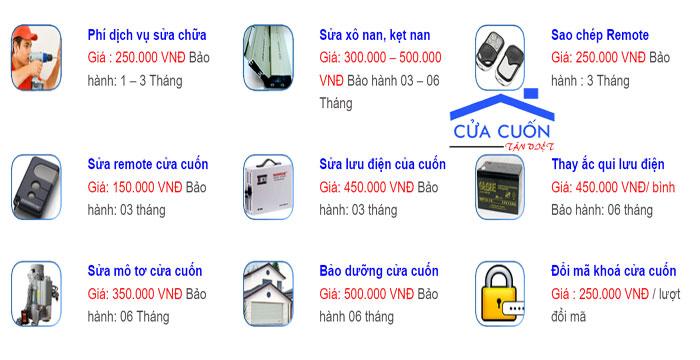 Báo giá dịch vụ sửa chữa cửa cuốn Tân Việt.